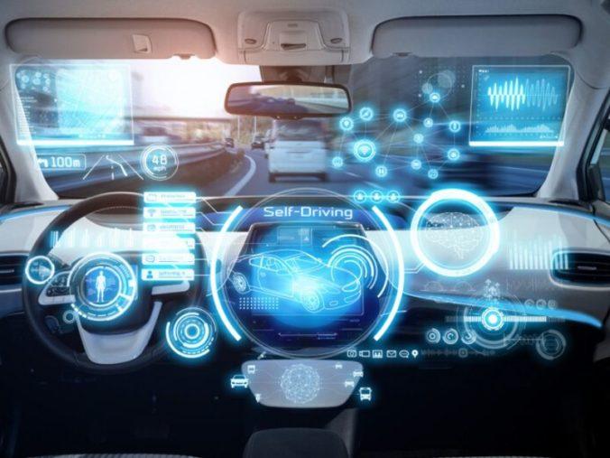 interior of futuristic self driving car
